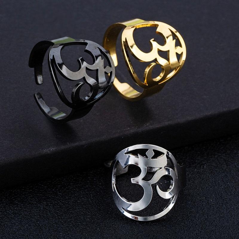 OM мантра браслет 316L кольцо из нержавеющей стали символ амулет для женщин мужчин очаровательное кольцо викингов ювелирные изделия