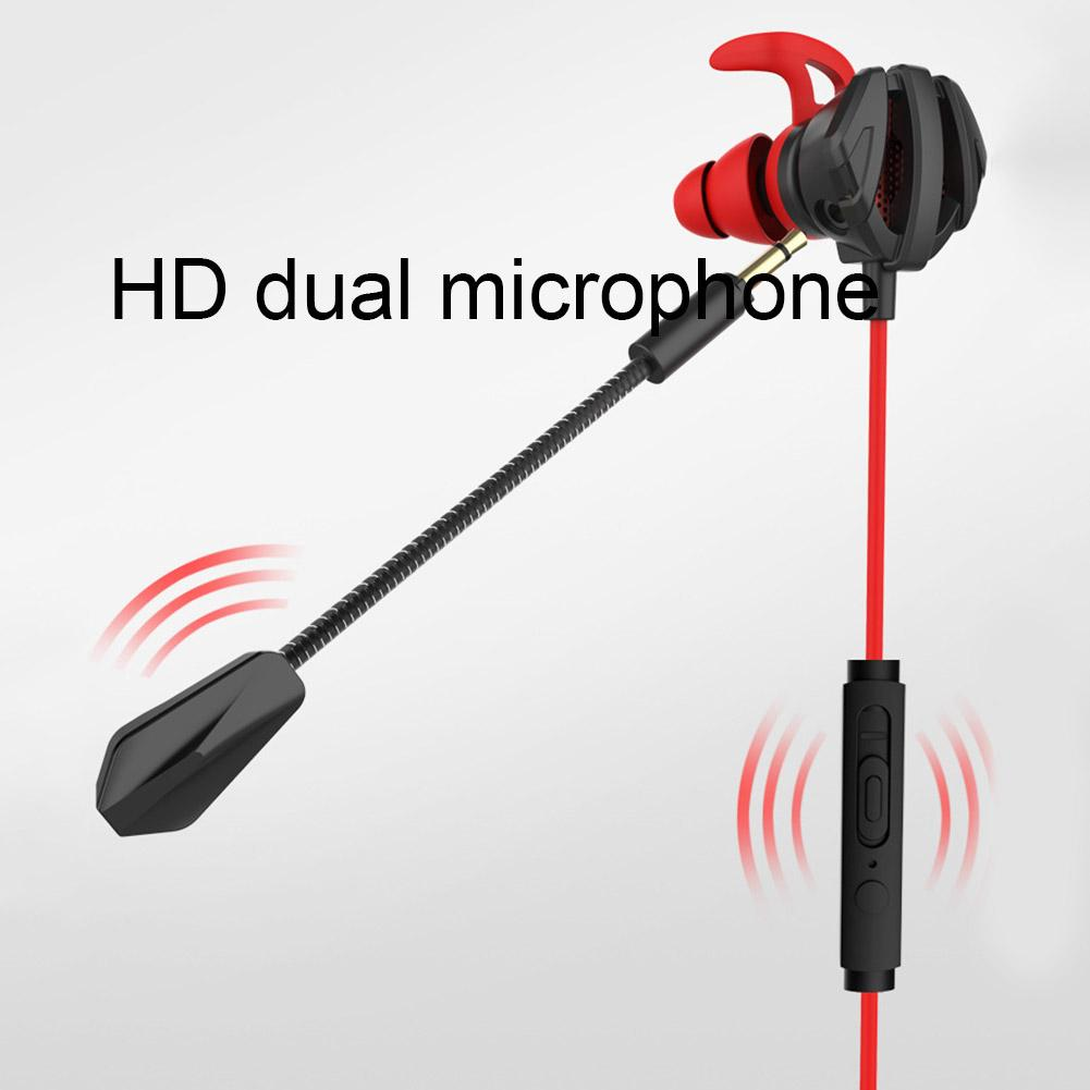 Portable Dynamic Noise Reduction In-Ear Wired Call Earphones Gaming Computer Earpiece With Dual Mic