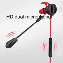 Fones de ouvido intra-auriculares portáteis, redução dinâmica de ruído, chamadas com fio, computador de jogos com microfone duplo