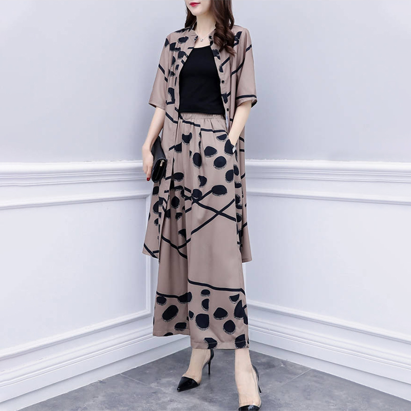 Large Size Single-breasted Short-sleeved Cardigan Shirt Female Printed Loose Nine-point Wide-leg Pants Women's Suit 2020 Summer