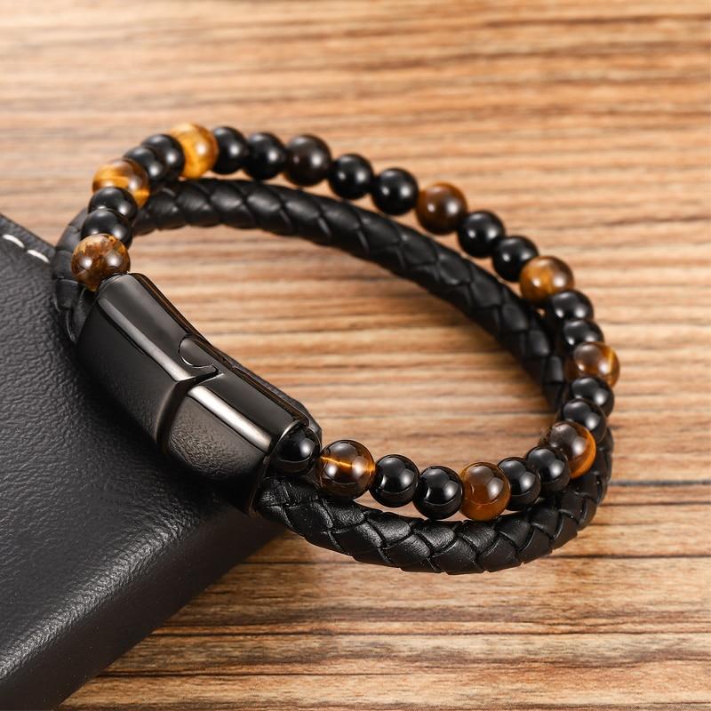 Bracelet à perles en cuir pour hommes, corde en acier inoxydable, pierre naturelle et magnétique, bracelet en pierre volcanique, chaîne cadeau