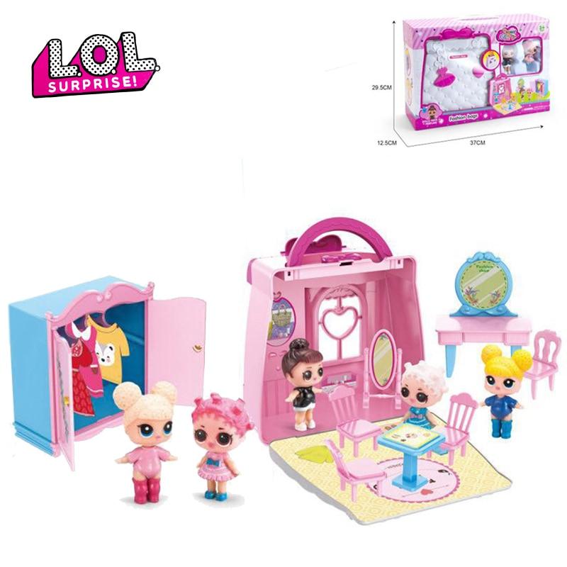 Originale LOL Surprise poupées Juguete jouer sac à main château château maison ensemble de meubles figurines d'action enfants jouets pour cadeau pour enfants