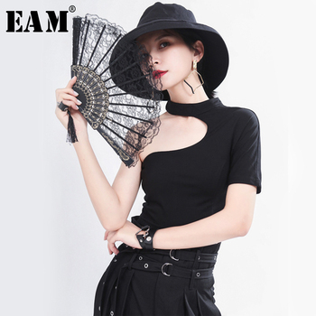 [EAM] Women White Hollow Out Split Brief Short T-shirt New Round Neck Sleeve Fashion Tide  Spring Summer 2021 1T754 - discount item  33% OFF Tops & Tees