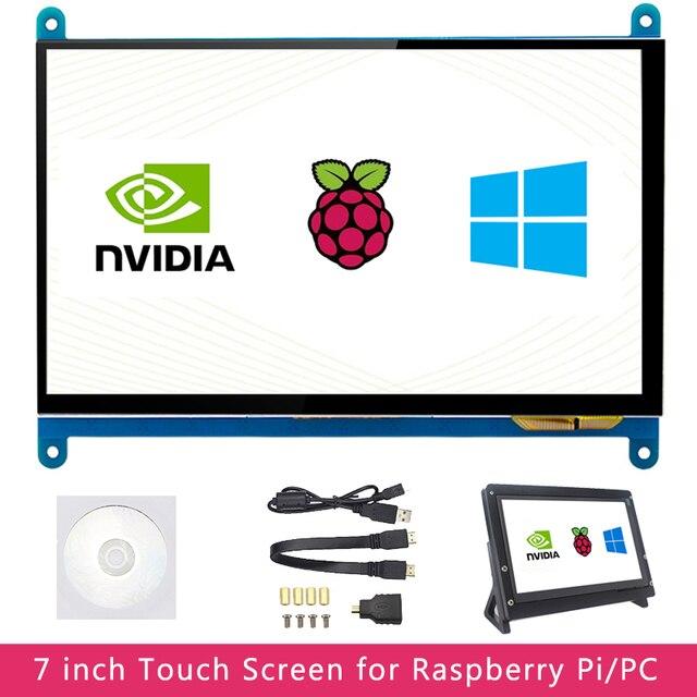 7 inch Raspberry Pi 4 Model B 3B LCD Display Touch Screen 1024*600 800*480 HDMI TFT Optional Holder for Nvidia Jetson Nano PC