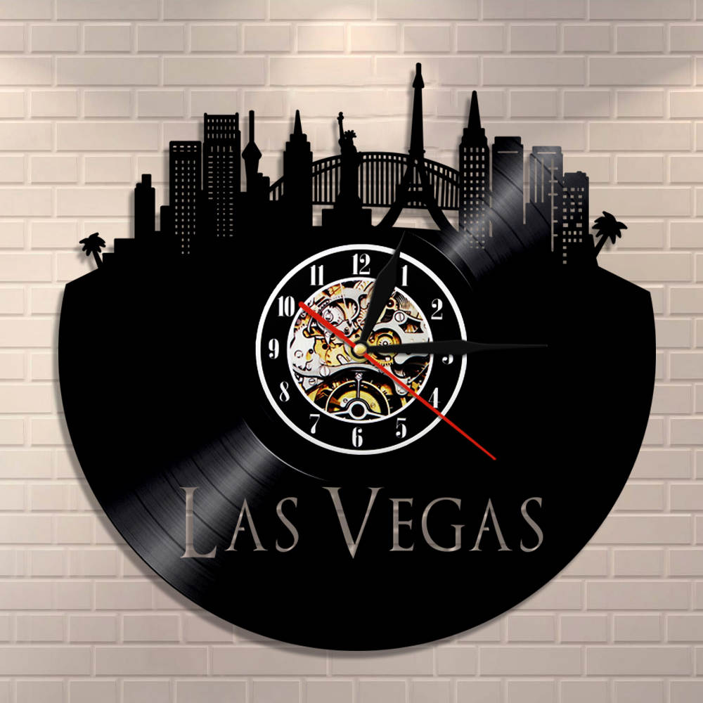 City Of Gambling Las Vegas Skyline Wall Clock Las Vegas Cityscape Home Decor Nevada Architecture Vintage Vinyl Record Wall Clock