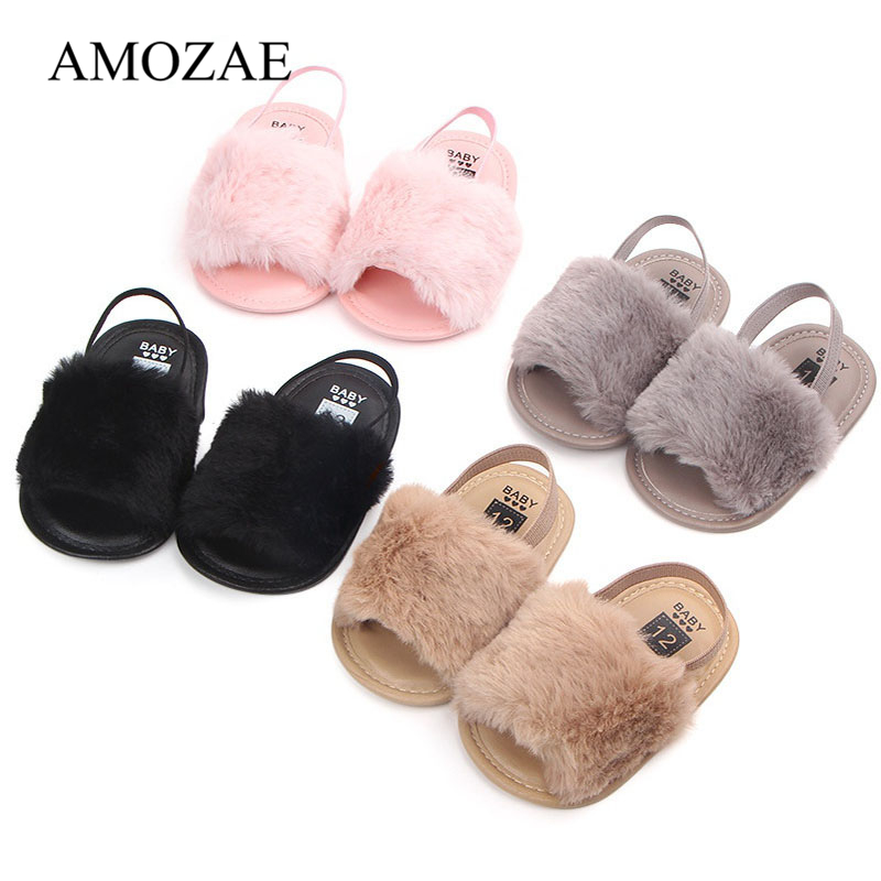 Fashion Faux Fur Baby Shoes Cute Infant Baby Boys Girls Shoes Soft Sole Slipper Comfortable Indoor Shoes For 0-18M