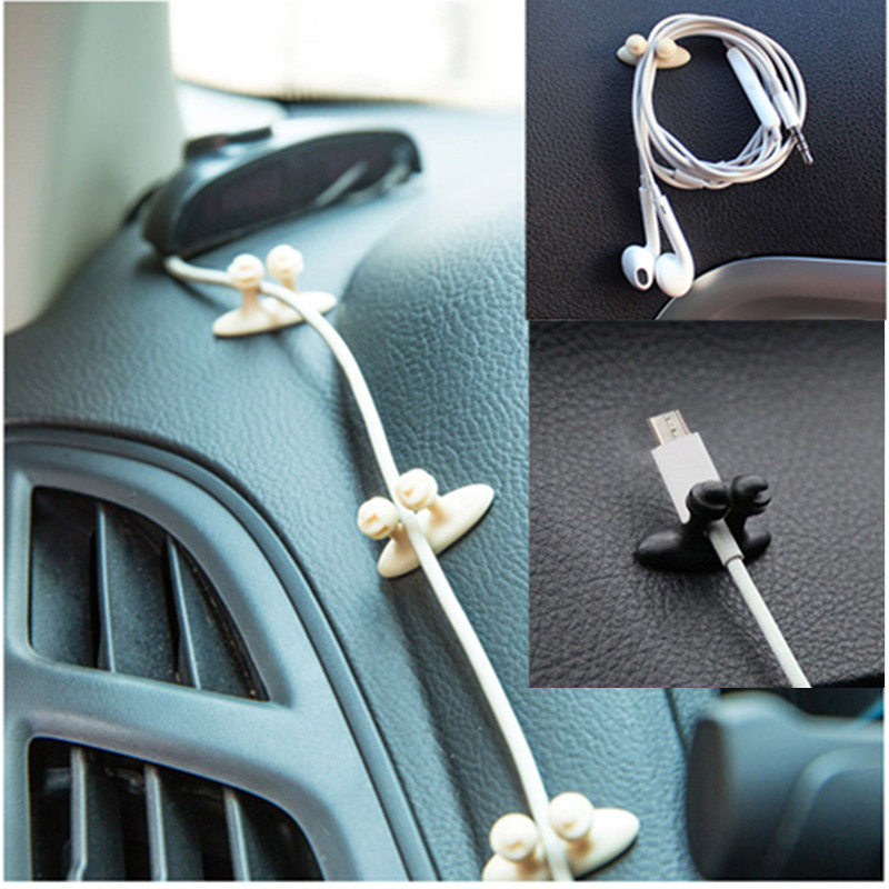 8PCS/Set Multifunctional Adhesive Car Charger Line Clasp Clamp Headphone/USB Cable Car Clip Interior Accessories