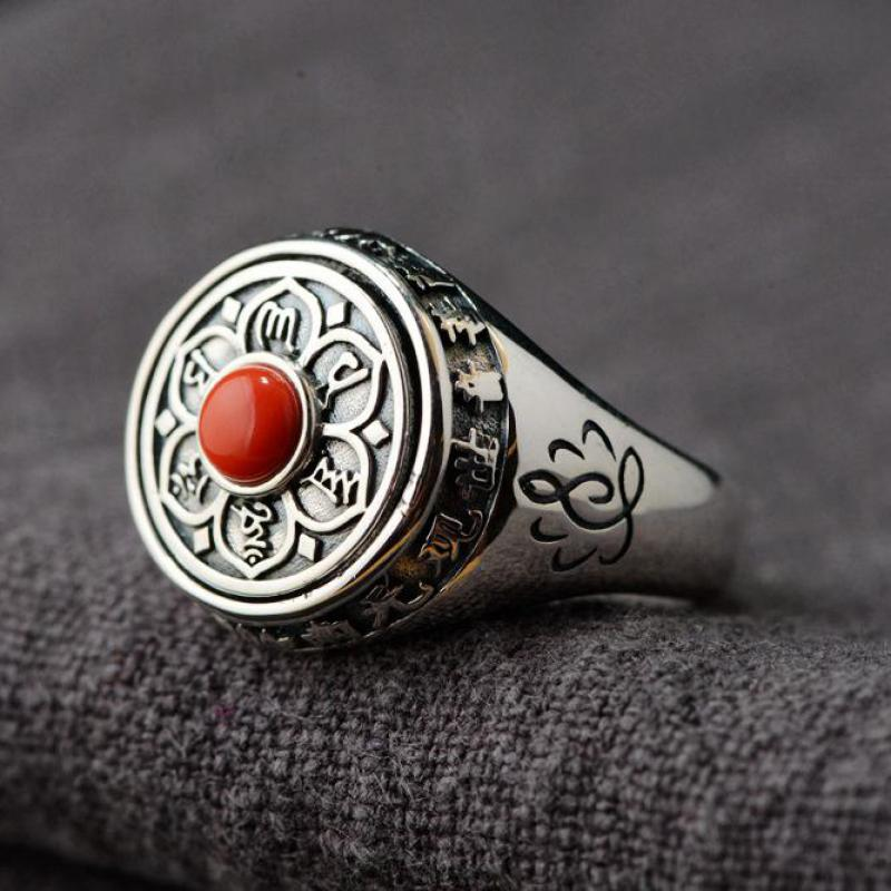 Image 2 - 925 Sterling Silver Lotus Rings For Women And Men Rotatable  Natural Stone Inlaid Six Words Mantra Rings Buddhist JewelryRings   -