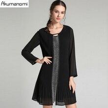 Autumn Draped Dress Women Clothing Black O neck Short Sleeve Beading Dress High Quality Fashion Plus Size 5XL 4XL 3XL 2XL XL L M