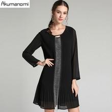 Jesień drapowana sukienka odzież damska czarna O neck z krótkim rękawem sukienka z koralikami wysokiej jakości moda Plus rozmiar 5XL 4XL 3XL 2XL XL L M