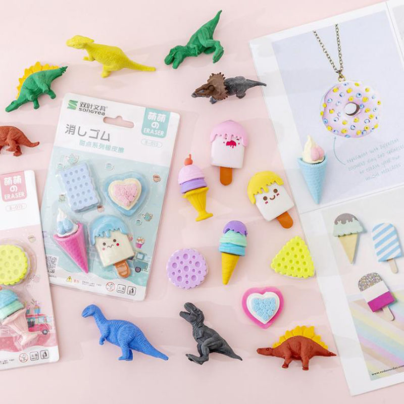 4 Pcs/pack Cartoon Mini Dinosaur Dessert Cake Biscuit Ice Cream Rubber Pencil Erasers School Office Students Stationery Gifts