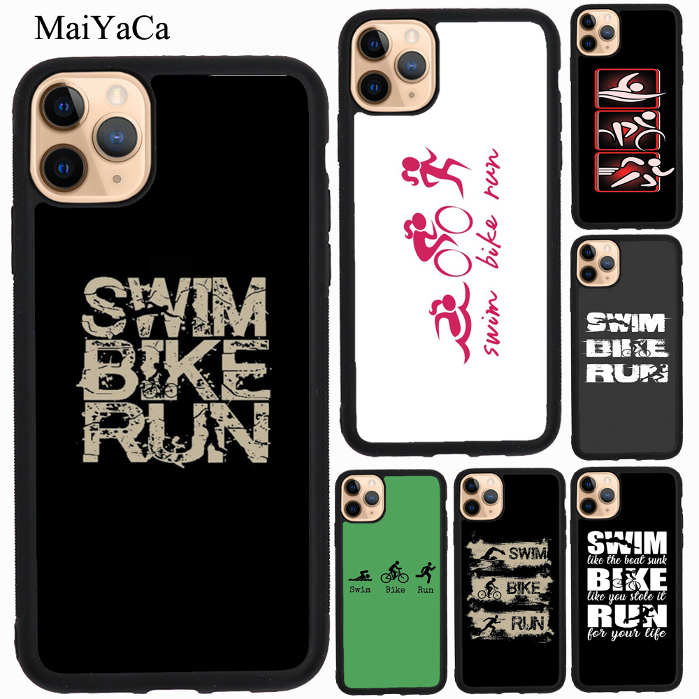 Maiyaca <font><b>swim</b></font> <font><b>bike</b></font> <font><b>run</b></font> triathlon tpu caso para iphone xr x xs max 5S se 2020 6 s 7 8 plus 11 pro max capa coque image
