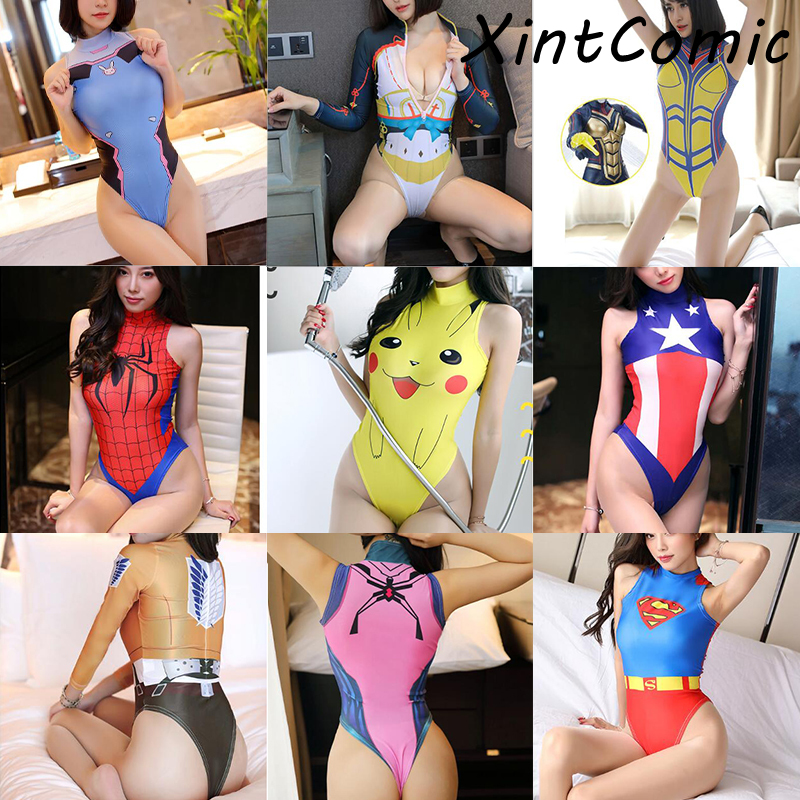 <font><b>Sexy</b></font> Costumes for Women Anime Spider Man <font><b>Cosplay</b></font> <font><b>DVA</b></font> Attack on Titan Overwatch Halloween Erotic Lingeire Sleeveless Underwear image