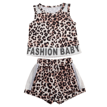 1-4Y Kid Baby Girls Clothes Sets Leopard Letter Print Sleeveless Vest Tops+Shorts 2pcs Outfits Summer Children Clothing kid outfits round neck letter pattern tops in grey
