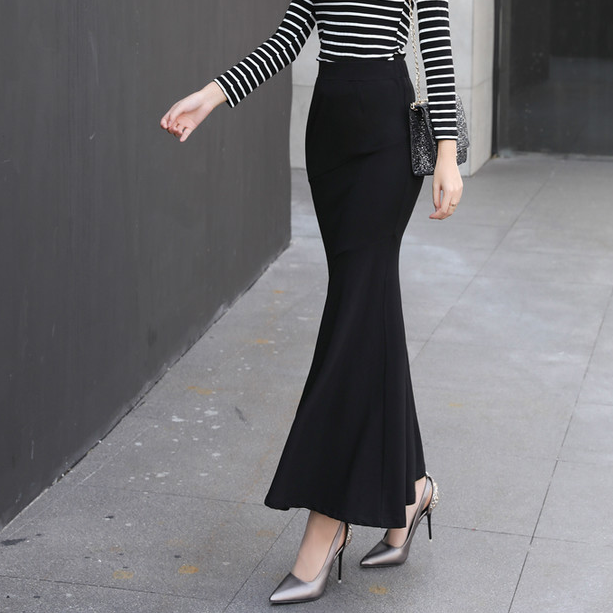 Enkellange Lange Trompet Rok Vrouwen Plus Size 4XL 5XL Elastische Stof Slanke Heupen Zwart Mermaid Buste Rok Dame AQ692