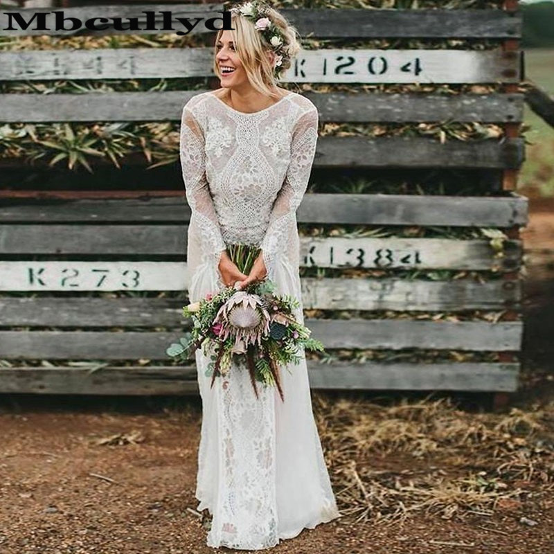 Mbcullyd Lace Bohemian Wedding Dresses 2020 Sexy Backless Boho Bridal Gowns Cheap Plus Size Chiffon Robe De Mariee