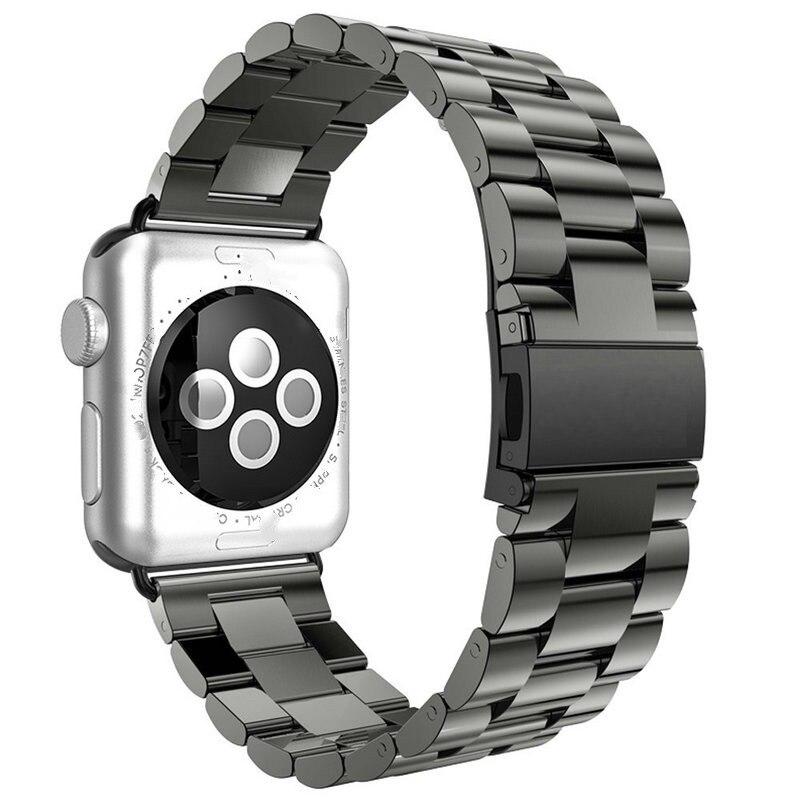 Per Apple Watch Series 6 5 4 3 2 cinturino cinturino 40mm 44mm 42mm adattatore cinturino cinturino in acciaio inossidabile nero per cinturino iWatch 4 3 38mm 2