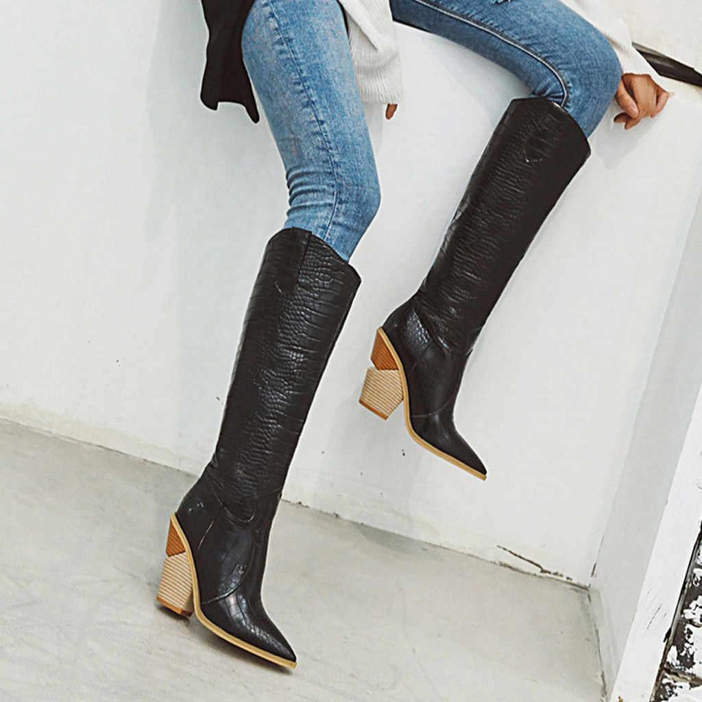 Clássico das Mulheres Na Altura Do Joelho-Alta Equitação Botas de Inverno De Couro Bota Alta Sexy Selvagem Feminino Grande Bezerro Sapatos de Salto Alto tubo longo Bota de Cowboy