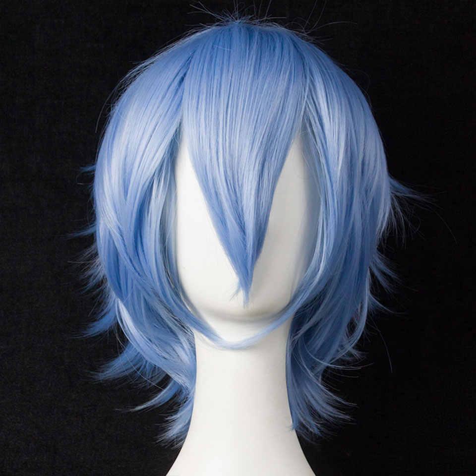 Mumupi Cosplay Korte Bob Cos Pruik Lolita Haar Voor Vrouwen Blauw Geel Synthetische Blond Puple Azure Rood Zwart Wit Rood