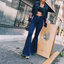 2019 Women Solid High Waist Flare Jeans Tassel Plus Size Shaping Stretch Zipper Bell Bottom