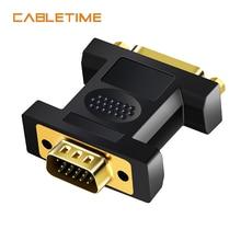 Cabletime dvi para vga adaptador macho para dvi 24 + 5 pinos conversor fêmea 1080 banhado a ouro dvi conversor forcomputer computador portátil n178