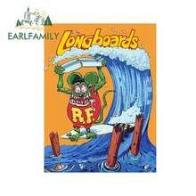 EARLFAMILY 13cm x 9,8 cm Retro etiqueta engomada del coche de Longboards regla Rat Fink surfista vinilo DIY modificado pegatinas de vinilo gráfico