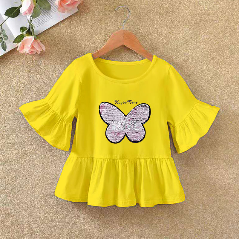 VIDMID 2021 Girls' Long Sleeve T-shirt O-neck Ruffle Cartoon Pattern Baby Girl Top T-shirt Autumn Children's Clothing P72 2