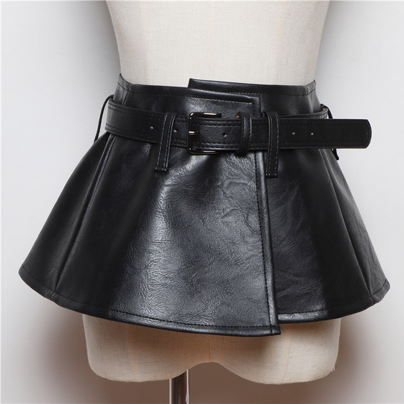2020 New Wide Belt Women Corset Belts Pu Leather Ruffle Skirt Peplum Waistband Cummerbunds Female Dress Strap Girdle