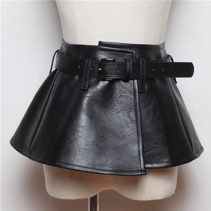 2020 New Wide Belt Women Corset Belts Pu Leather Ruffle Skirt Peplum Waistband Cummerbunds Female Dress Strap Girdle
