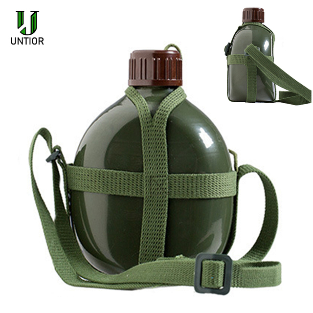 UNTIOR Aluminum Military Army Flask Wine Water Bottle Cooking Cup With Shoulder Strap Hiking Kettle Outdoor Tools 1L/2L 1