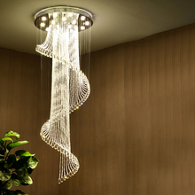 Luxury Spin Crystal Chandelier Modern Staircase Ceiling Chandelier Lighting Round Long Crystal Hanglamp GU10 AC110V 220v