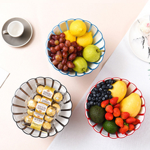 2 In1 European Round Fruit Plate Petal Two-color Plastic Bread Nut Plat Desktop Fashion Decoration Storage Platter