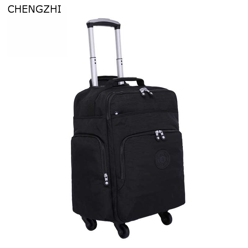 CHENGZHI 16inch Nylon Rolling Luggage Bag Travel Boarding Bag With Wheels  Cabin  Suitcase Trolley Bag