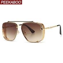 Peekaboo retro shield sunglasses men square gradient lens uv