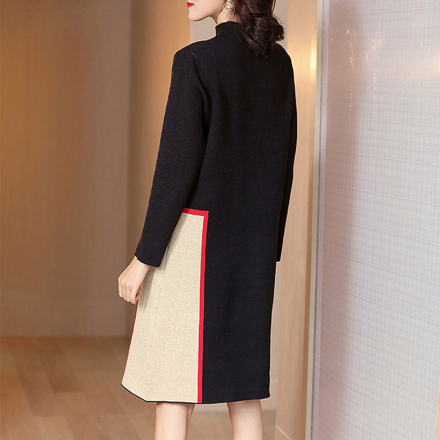 Fashion show thin knitting dress long sleeves loose female in the new winter long knee-length hair dress 4