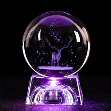5cm/6cm 3D Engraved Galaxy system Milu deer Crystal lamp night light luminous Craft Glass round Sphere Home office Decor lamp