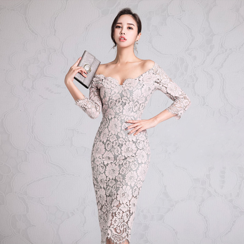 BacklakeGirls 2019 Sexy V Neck 3/4 Sleeve Low Chest Tea-length Full Lace Dress Cheap Prom Dresses Vestidos De Gala Elegante