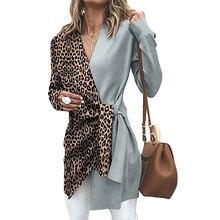 Женская блузка с леопардовым принтом v образным вырезом