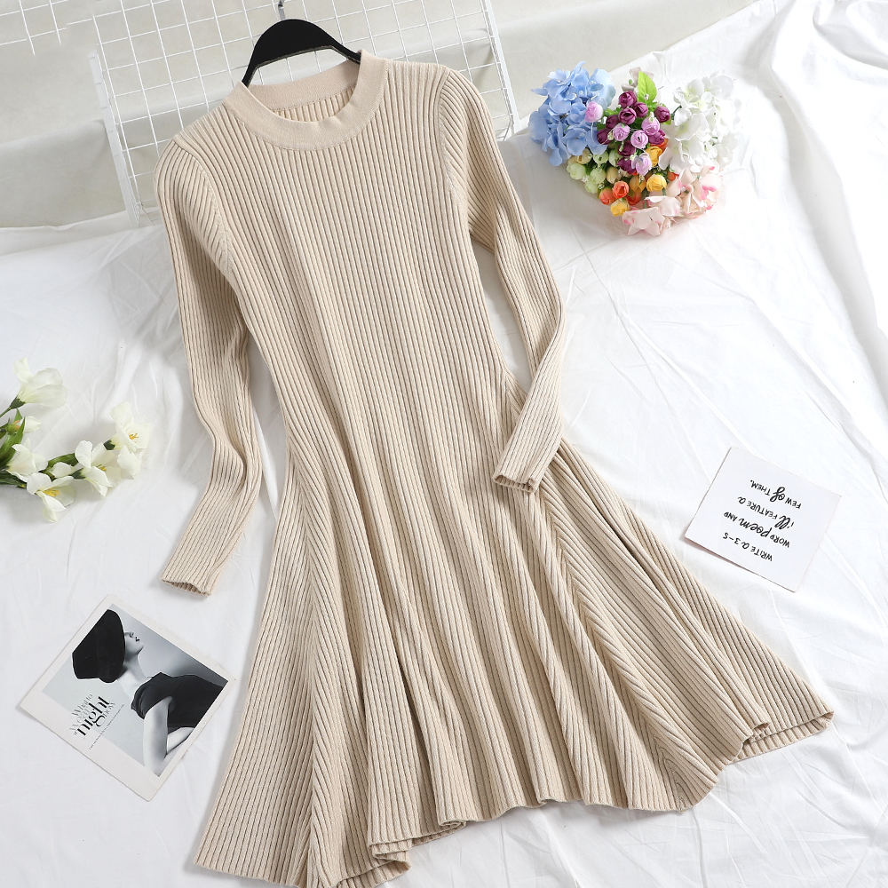 Hb889831fba674fc8888c43875adee7c0V - Women Long Sleeve Sweater Dress Women's Irregular Hem Casual Autumn Winter Dress Women O-neck A Line Short Mini Knitted Dresses