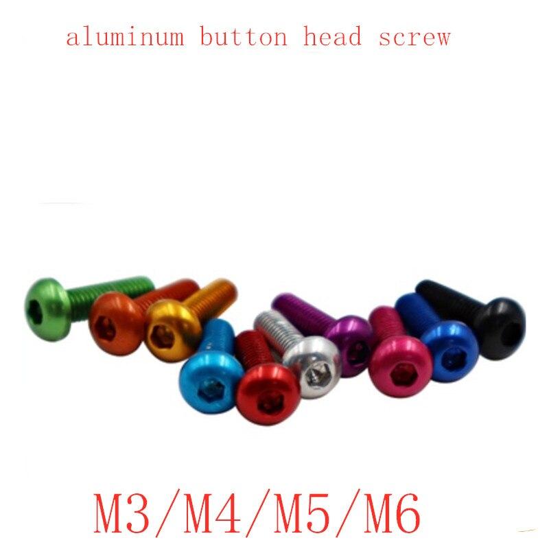 10 pces m3 m4 m5 m6 * 5/6/8/10/12/14/16/20/25 de alumínio colorido hex soquete botão cabeça parafuso
