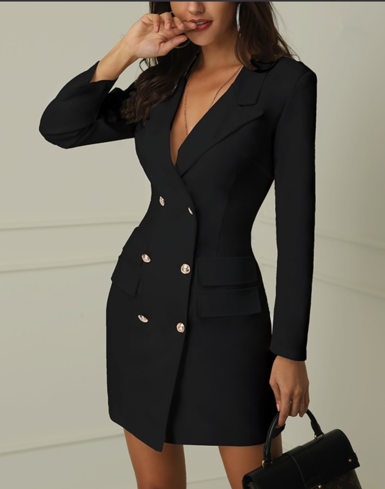 Autumn Winter Suit Blazer Womens Casual Double Breasted Women Long Pocket Jackets Elegant Long Sleeve Outerwear Jacket Long Coat