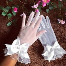 Новые перчатки невесты марлевые с бантиком с пальцами короткие белые перчатки свадебное платье аксессуары фото реквизит