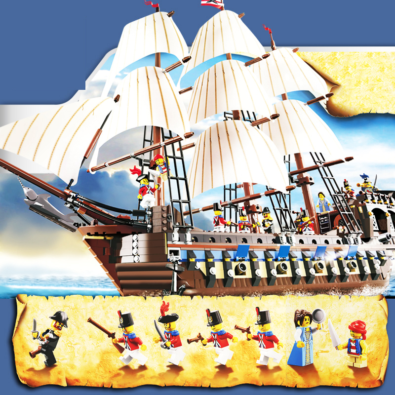 Pirates Imperial Caribbean Building Blocks Set Flagship Model Building DIY Compatible 10210  Christmas Gifts For Kids