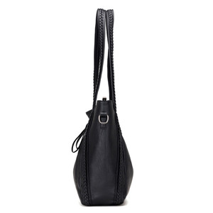 Image 3 - Sacs à main en cuir souple de luxe pour femmes sacs à bandoulière tissés de grande capacité de marque de concepteur dames fourre tout décontractés sacs de voyage noirs