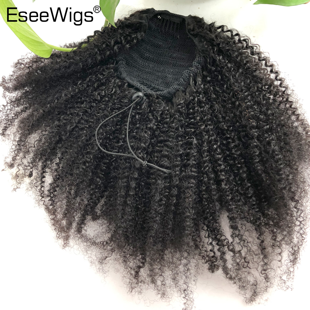 Eseewigs Human Hair Ponytail  Afro Kinky Curly For Women Natural Color Remy Hair 1 Piece Clip In Drawstring 4B 4C Ponytails