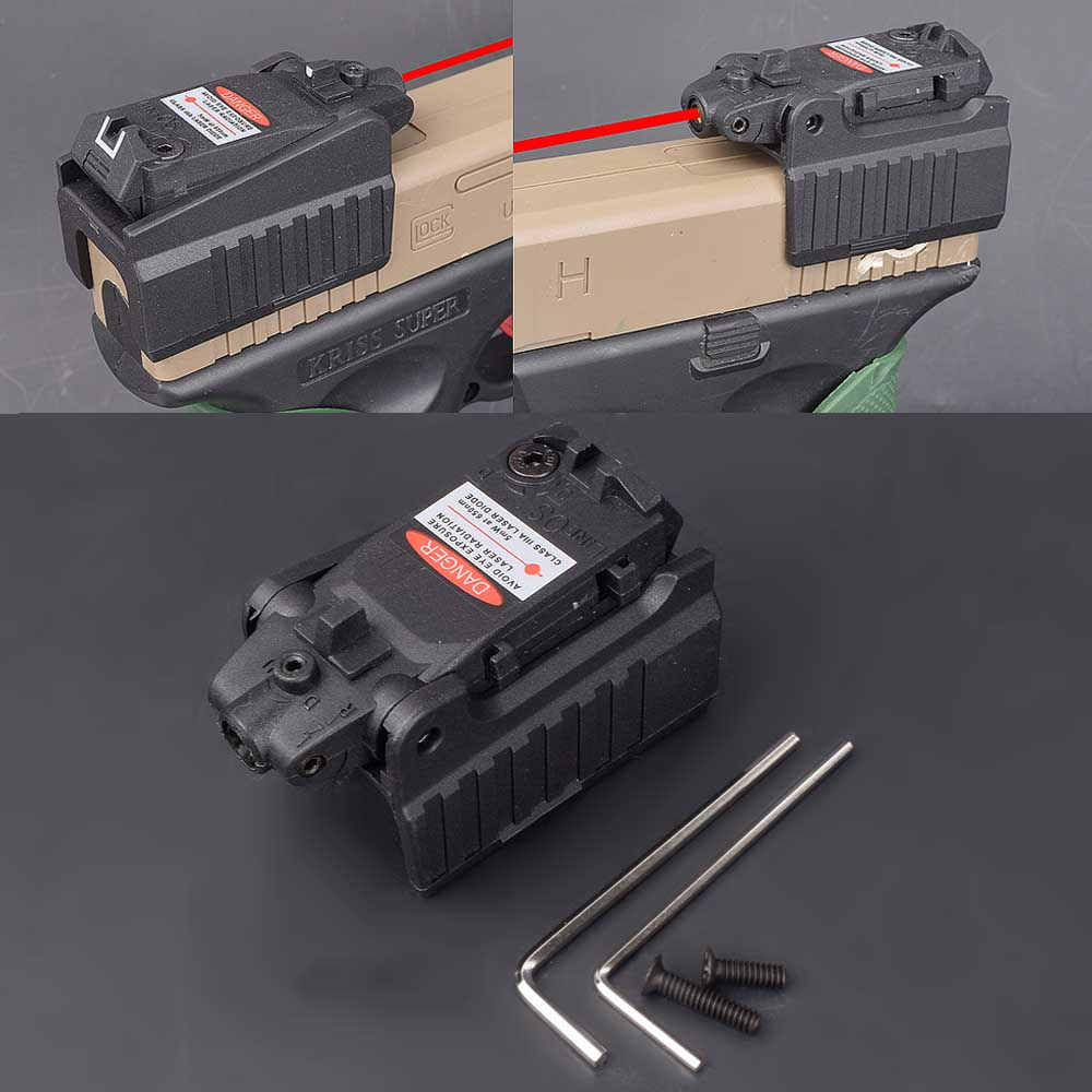 Military Airsoft Tactical Compact Pistol Hand Gun Red Laser Sight Scope High Mount For Glock 17 18C 22 34 Series-0