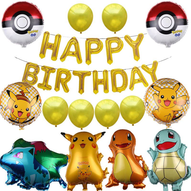 1set Pokemon Go Pikachu Balloon Pocket Monster Happy <font><b>Birthday</b></font> Party Decorations kids 5th 6th 7th <font><b>8th</b></font> 9th years old <font><b>birthday</b></font> toy image