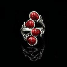 Anillo de piedra Natural roja de viento étnico para mujer, joyería de compromiso, anillo de aleación Chapado en plata Vintage para chica, joyería para mujer