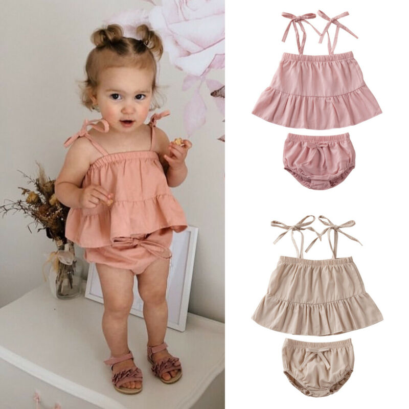 Newborn Baby Girls 2PCS Clothes Set Cute Summer Toddler Infant Pleated Tops Vest Bow Shorts Pants Beach Outfits Suit