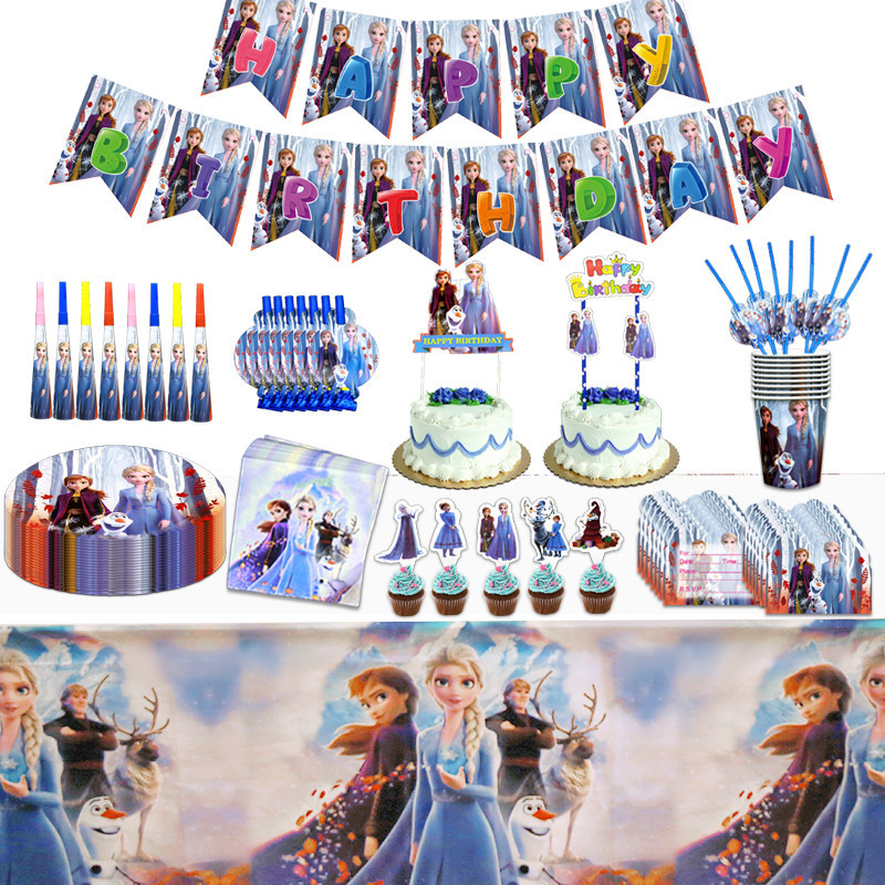 Hot Frozen 2 Theme Girls Birthday <font><b>Party</b></font> Supplies Anna Elsa <font><b>Princess</b></font> <font><b>Party</b></font> Paper Plates Cups Disposable tableware Set Tablecloth image